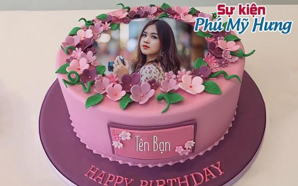 Mẫu bánh sinh nhật in hình có dáng tròn màu tím