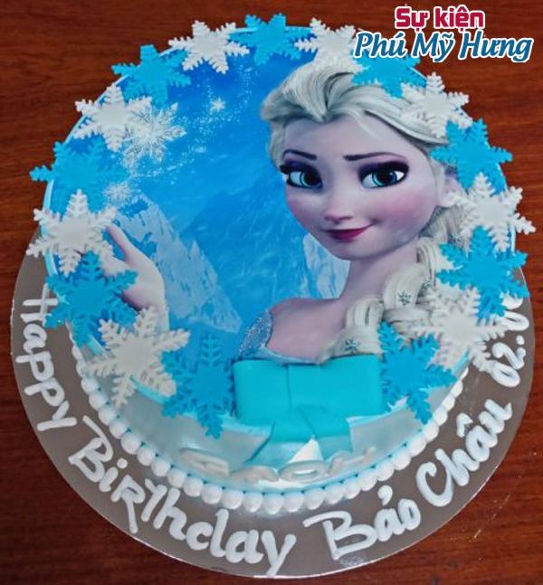 Bánh sinh nhật tròn in hình Elsa