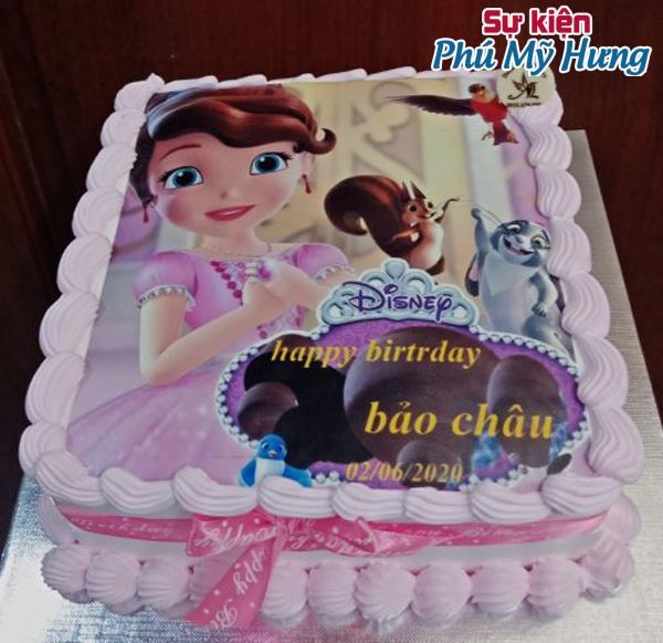 Bánh sinh nhật in hình công chúa cho bé gái