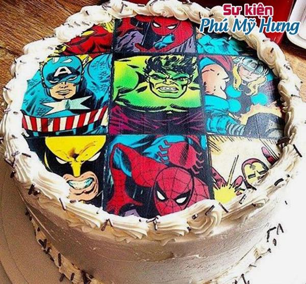 Bánh sinh nhật in hình hoạt hình cho bé trai